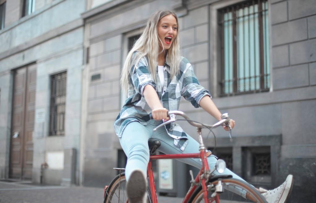 Woman-riding-bike